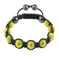 China Lemon Yellow Crystal Beads With Black Rope Tresor Paris Shamballa Bangle Bracelets wholesale