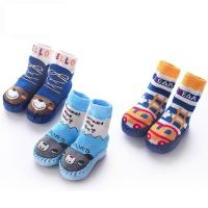 China High quality fashionable custom PU anti slip sole baby cotton socks shoes bootie on sale