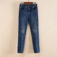 China Non Fading Dark Blue Wide Leg Womens Tapered Jeans With Embroidered Flowers wholesale