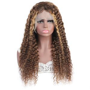 China Brazilian Human Hair Wigs Lace Frontal Blonde Brown Highlight Mix Color Custom Wig wholesale