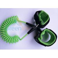 China Retractable Plastic Spring Baby Wrist Link With Straps Green 1.5M Stretched Length wholesale