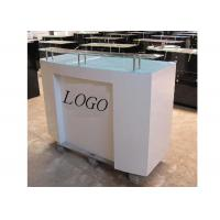 China HDF Baking Glossy White Retail Checkout Counter Floor Standing With Printed Logo wholesale