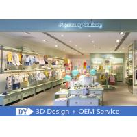 China OEM Children'S Store Fixtures / Baby Clothing Showcase With Light Green Lacquer Finished wholesale