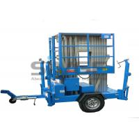 China Aluminium Alloy Hydraulic Work Platform , 10m Dual Mast Trailer Mounted Boom Lift wholesale