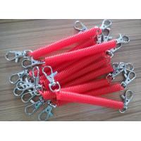 China Custom Rose Color 2.5x12x120mm Plastic Spring Key Coil w/Trigger Hooks on Both Ends wholesale