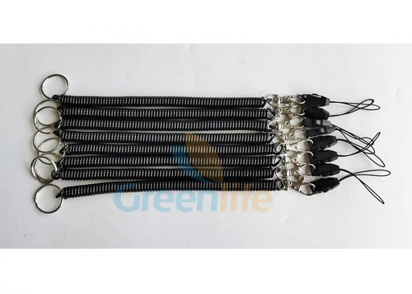Quality Detachable Connector Black Spiral Coiled Key Lanyard for sale