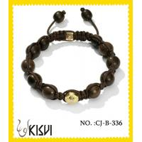 China 2012 hot selling black and gold shamballa crystal beads bracelet for anniversary, gift wholesale