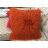 "China Long wool Pillow 18"" x 18"" Tibetan Lamb Fur Pillow Single Sided Fur Frosted Black wholesale"