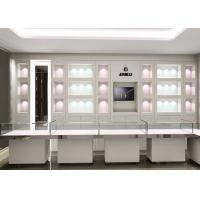 China Matte White Color Jewellery Display Cabinets With LED Lighting Decoration wholesale