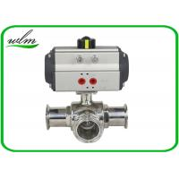 Quality Clamped Sanitary 3 Way Ball Valve / Stainless Steel Pneumatic Ball Valves for sale