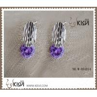 China 925 fashion sterling silver gemstone earring with shiny purple zircon W-AS1014 wholesale