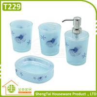 China Bright Color Starfish Bathroom Accessories Set Trumpet Shell Plastic Bathroom Sets wholesale