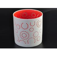 China Decorative Red Ceramic Candle Holder Spraying For Home Votive wholesale