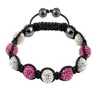 China High quality 10mm Hematite Crystal Bangle Bracelets with white & dark pink crystal beads wholesale