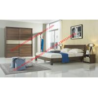 China Wood & Panel furniture in modern deisgn Walnut color by KD bed with Sliding door wardrobe wholesale