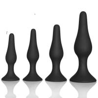 Quality Couple pleasure body safe Anal Sex Toys 4 Piece purple black Silicone Anal Plug for sale