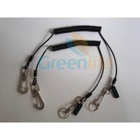 China 0.8 Steel Wire Inside Best PU Jacket Spring Coiled Protective Lanyard Tether w/Custom Logo Tag wholesale
