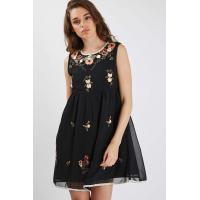 China Sleeveless Short Womens Chiffon Formal Dresses Black Color Floral Embroidered wholesale