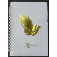 China Plain Gold Stampled Praying Hands Funeral Memorial Register Books wholesale