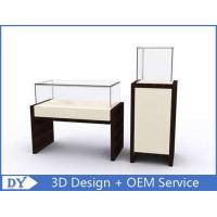 China OEM MDF Square Rectangle Pedestal Display Case With Lighting / Glass Display Cabinet wholesale