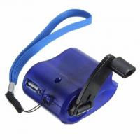 China USB Travel Emergency Mobile Phone Charger Dynamo Hand Manual Charger Wind-Up Charger Blue wholesale