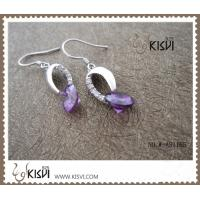 China 2012 hot selling 925 fashion sterling silver gemstone earrings with purple zircon W-AS1165 wholesale