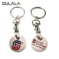 China Custom Cheap Metal Trolley Coins Shopping Cart Token Key Chain with a coin wholesale