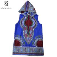China 100 Percent Cotton Mens Hoodie African Print Tops Clothing Sleeveless Multi Colors wholesale
