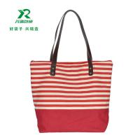 China Manufacturer eco-friendly cheap customized canvas bag fashion shoulder bag canvas stripe  shopping bag wholesale