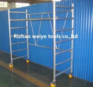 Quality Mobile aluminum scaffolding h frame with fiberglass plank , PVC wheels 34.7kg for sale