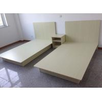 Beige Modern Hotel Room Furnishings Small Wooden Double Bed Moistureproof