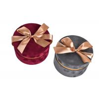 China Round Glitter Velvet Jewelry Box , Suede Gift Box Stamping Logo With Top Ribbon wholesale