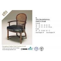 China Antique Wooden Upholstery Fabric Hotel Dining Chairs With Arm For Restaurant wholesale