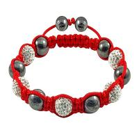 China OEM Hot Selling 10mm Red Crystal Hematite with Red Rope Crystal Bangle Bracelets wholesale