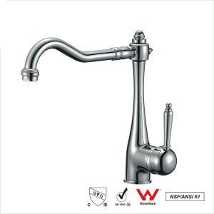 China Watermark Single Handle Water Faucet , Bathroom Basin Water Ridge Tap wholesale