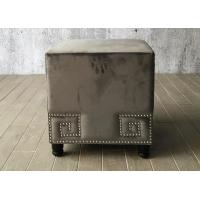 China Velvet Fabric Bedroom Ottoman Bench Cube For End Bed , Grey Color wholesale