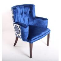 China Blue Velvet Tufted Chair Home Furniture , Wooden Arm Chairs Living Room wholesale