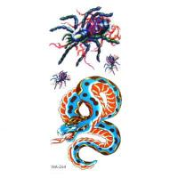 China Temporary Tattoos Spiders Snake Pattern Design Vivid wholesale