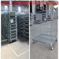 China folding storage cages with castors used for supermarket ane warehouse/hot-dipped galvanized fold cage with wheels wholesale