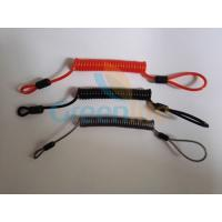 China Flexible plastic customized size coil tether w/mini loop on two ends simple tool wire lanyards wholesale