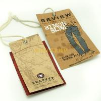 China Brown Color Personalized Swing Tag Labels With Print Logo For Teenager Jeans wholesale