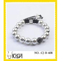China White Shamballa Crystal Beads Bracelet for Anniversary, Gift, Party wholesale