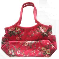 Quality Cotton Red Womens Tote Shopper Bag 600D Full Pattern Size Customized for sale