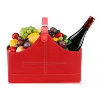 China High Quality Red pu leather gift wine fruitbasket hamper for holiday gift size41x20x27cm wholesale