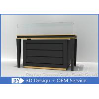 China Black Commercial Gold Shop Glass Counter with MDF Wood + Tempered Glass + Lights wholesale