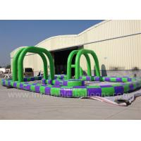 China Purple / Green Inflatable Race Track 13m PVC Tarpaulin Inflatable Track Games wholesale