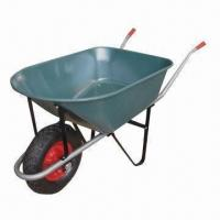 China Heavy-duty Wheelbarrow with 300kg Load, 120L, 7cbf Sand Capacity, Painted Tray and 4.00-8 Air Wheel wholesale