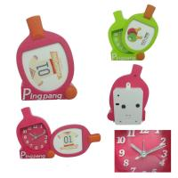 China plastic desk alarm clock with photo frame for kids wholesale