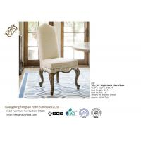 China Elegant French Style High Back Dining Chairs Cream Walnut Fabric With Armrest wholesale