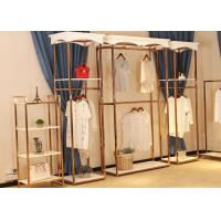 China Store Wall Racks / Retail Clothing Racks Rose Gold Mirror Stainless Steel Plus Wood wholesale